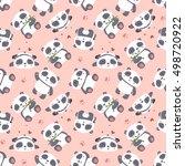 vector cartoon panda seamless... | Shutterstock .eps vector #498720922