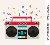 retro stereo cassette player.... | Shutterstock .eps vector #498730282