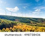 wind turbines on the hillside... | Shutterstock . vector #498738436