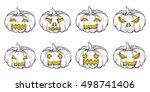 set of halloween hand drawn... | Shutterstock .eps vector #498741406