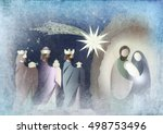 christmas nativity religious... | Shutterstock . vector #498753496