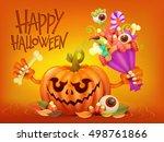 happy halloween concept card... | Shutterstock .eps vector #498761866