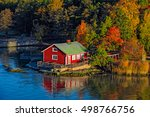 red summer cabin or mokki in... | Shutterstock . vector #498766756