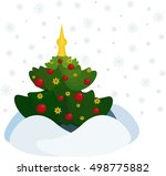 the christmas tree decorated... | Shutterstock .eps vector #498775882