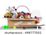 box of assorted toys to donate... | Shutterstock . vector #498777052