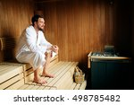 Handsome Man Relaxing In Sauna...