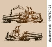 logging truck illustration | Shutterstock .eps vector #498787426