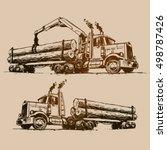 logging truck illustration | Shutterstock .eps vector #498787426