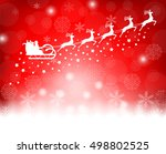 santa claus in sled rides in... | Shutterstock .eps vector #498802525