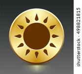 sun on gold round button | Shutterstock .eps vector #498821815