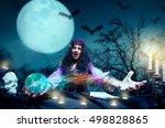crazy sorceress practising... | Shutterstock . vector #498828865