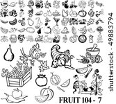 Fruit Set Of Black Sketch. Par...
