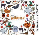 background of halloween icons... | Shutterstock .eps vector #498843742