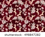 dark red seamless pattern with... | Shutterstock . vector #498847282