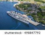 Aerial view of Missouri Battleship in Pearl Harbor, Honolulu, Hawaii, USA