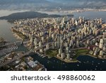 Small photo of Aerial view of Downtown Vancouver during a summer evening before sunset.