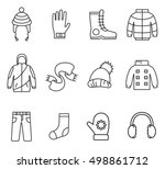 winter clothes  line icons set. ... | Shutterstock .eps vector #498861712