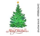 christmas tree  silhouette ...   Shutterstock . vector #498862642