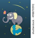 funny elephant standing on the... | Shutterstock .eps vector #498870592