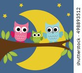 owls family sitting on a branch ...   Shutterstock .eps vector #498893512