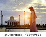 veiled islamic woman wearing a... | Shutterstock . vector #498949516