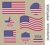 vintage usa american flag set ... | Shutterstock .eps vector #498952828