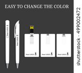 vector pen and usb flash card   ... | Shutterstock .eps vector #499002472