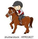 Boy Horseback Riding   Vector