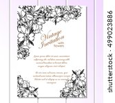 invitation with floral... | Shutterstock .eps vector #499023886