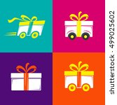 delivery gift icons. set logo... | Shutterstock .eps vector #499025602