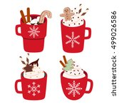 cute set with four illustration ... | Shutterstock .eps vector #499026586