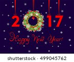 happy new year 2017 greeting... | Shutterstock .eps vector #499045762