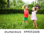 little cute girl and boy play... | Shutterstock . vector #499052608