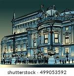 paris  opera garnier at night   ...   Shutterstock .eps vector #499053592