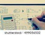 handwritten business graphs and ... | Shutterstock . vector #499056532