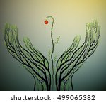 human hands look like tree... | Shutterstock .eps vector #499065382