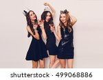 three beautiful young women... | Shutterstock . vector #499068886