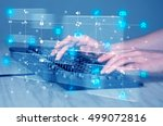 hand pressing keyboard with...   Shutterstock . vector #499072816
