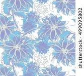 watercolor flower pattern  hand ... | Shutterstock . vector #499095802
