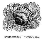 zentangle stylized seashell... | Shutterstock .eps vector #499099162