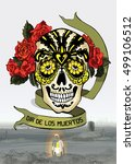 day of the dead skull with... | Shutterstock .eps vector #499106512