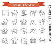 real estate icons  thin line... | Shutterstock .eps vector #499120426