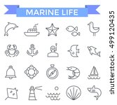 marine icons  thin line flat... | Shutterstock .eps vector #499120435