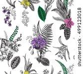 vector seamless vintage floral... | Shutterstock .eps vector #499123018