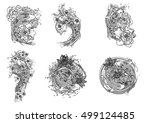 hand drawn vector set koi with... | Shutterstock .eps vector #499124485