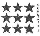 set of grunge star brush... | Shutterstock .eps vector #499135318