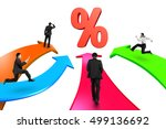 men on four color arrows go... | Shutterstock . vector #499136692