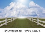 white concrete fence in farm... | Shutterstock . vector #499143076