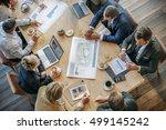 people meeting brainstorming... | Shutterstock . vector #499145242