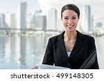 businesswoman with notebook and ... | Shutterstock . vector #499148305